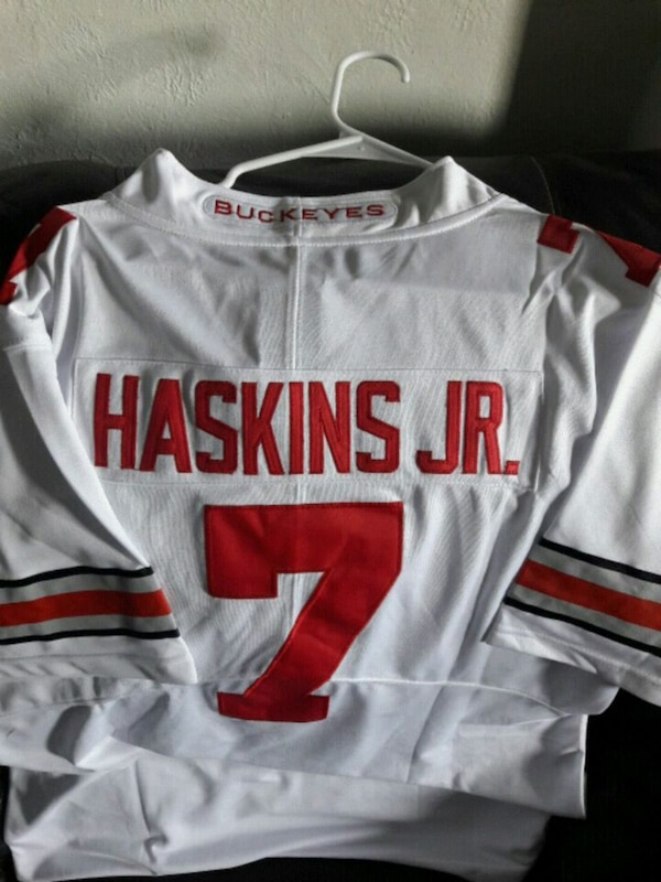 cheap for discount 79d93 ab50a white and red Nike Haskins Jr jersey OSU Stitched
