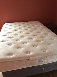Queen mattress, foundation and bed frame. Mattress does have a stain and may need to be spot cleaned. Otherwise good condition   Greenville, 29605