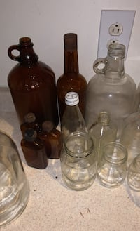 Vintage Whiskey  bottles, mason jars, soda bottles, wine bottles