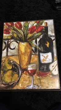 painting of wine bottle and glass Vancouver