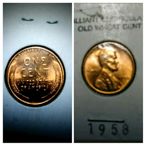 Brilliant uncirculated 1958 d wheat penny