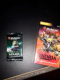 Magic the gathering (MGK) newest collectors booster pack and war of the sparks addition booster pack.
