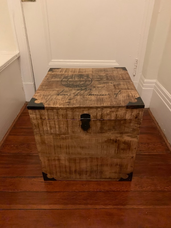 Solid Wood Trunk W Postage Stamp Design