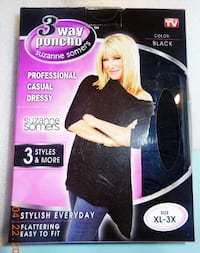 Suzanne Somers 3 Way Poncho New Black XL-3X Battle Creek
