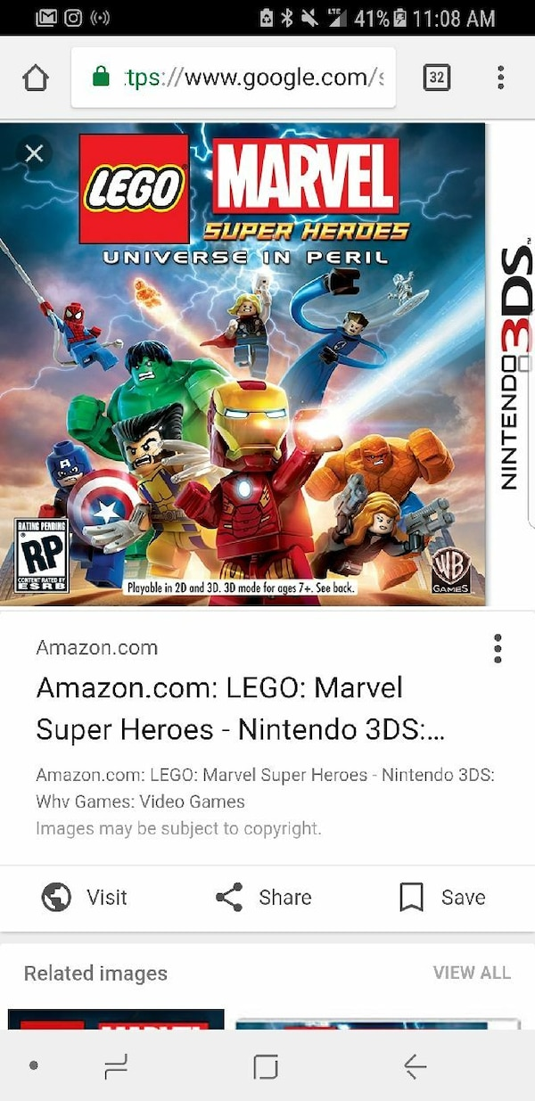 Lego Marvel Universe in Peril Nintendo 3DS game cover screenshot