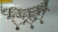 silver pink studded necklace