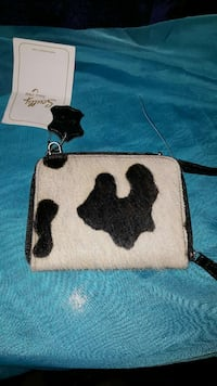 black and white cow-print suede wallet