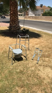 gray adult commode walker and crutches Las Vegas, 89121