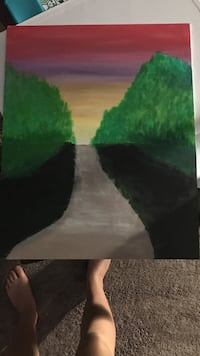 road in between with trees painting Prince George, V2N 5A3