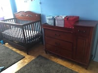 brown wooden crib with changing table CHATHAM