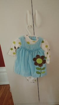 girl's blue, green and white floral long-sleeved dress