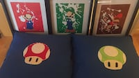 Three Mario bros pictures and frame with two pillows with hand sewn Mario mushrooms  Laval, H7X 4B3