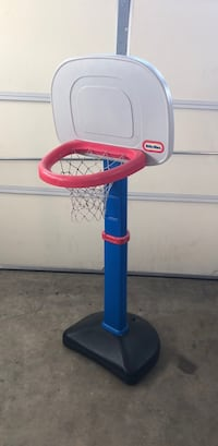 toddler's blue and red Little Tikes basketball system Triangle, 22172