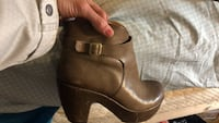 brown leather chunky heel bootie Washington, 20024