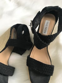 Steve Madden size 11 black wedges, may have wore once, excellent condition, s/f p/f home, poos, pick up in imperial  Imperial, 63052