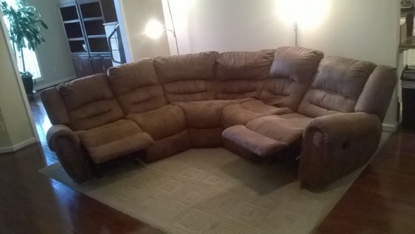 Microfiber 6 seat Sectional of which two or recliners