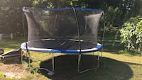 blue and black trampoline with enclosure Greenwich, 12834