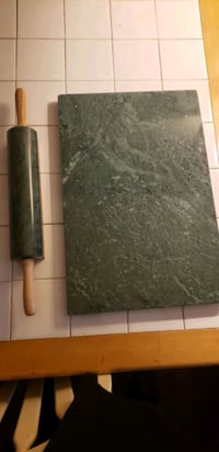 Green marble rolling pin and cutting board