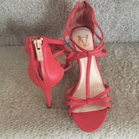 pair of red open toe ankle strap heels Virginia Beach, 23452