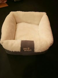 white and gray Pet Design bed