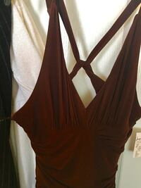 women's brown plunging neckline sleeveless dress Laval, H7N 5X6