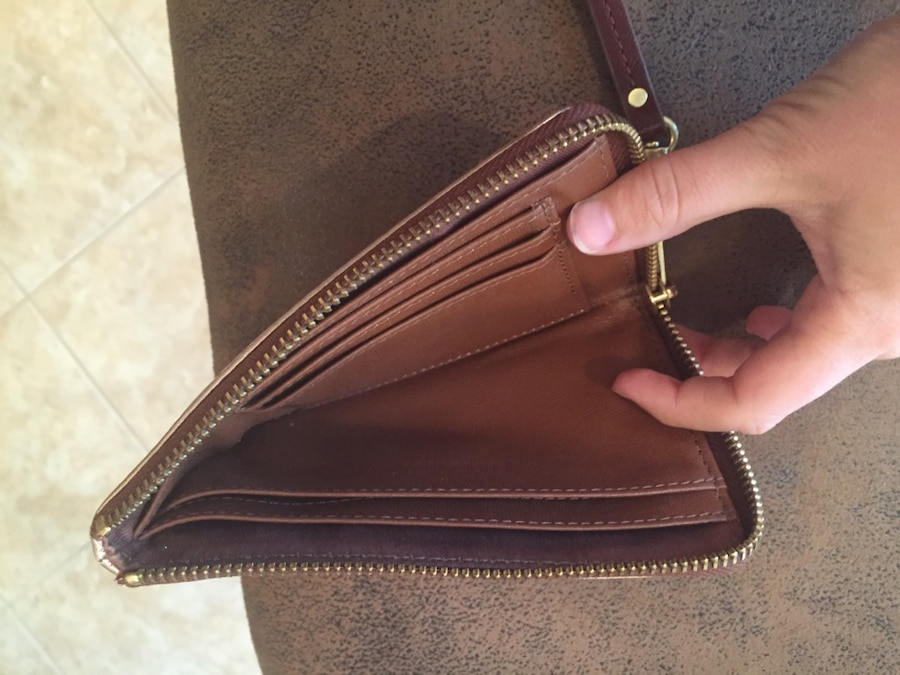brown and gold fossil wristlet - Southside