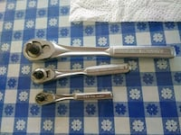 three chrome ratchet wrenches