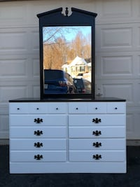 Ethan Allen Solid Wood Long Dresser With Mirror White With Black Top  Manassas, 20112