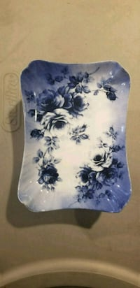 white and blue floral ceramic plate South Gate