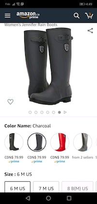 size 6 rain boots worn once/twice Guelph, N1G 1V7