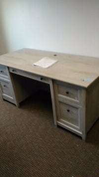 white wooden single pedestal desk Alexandria, 22309