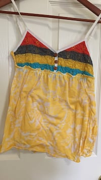 women's yellow, black and red spaghetti strap top Ocean Springs, 39564