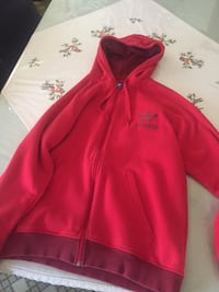 Red adidas zip-up hoodie