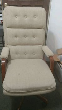 brown wooden framed white padded glider chair San Antonio, 78224