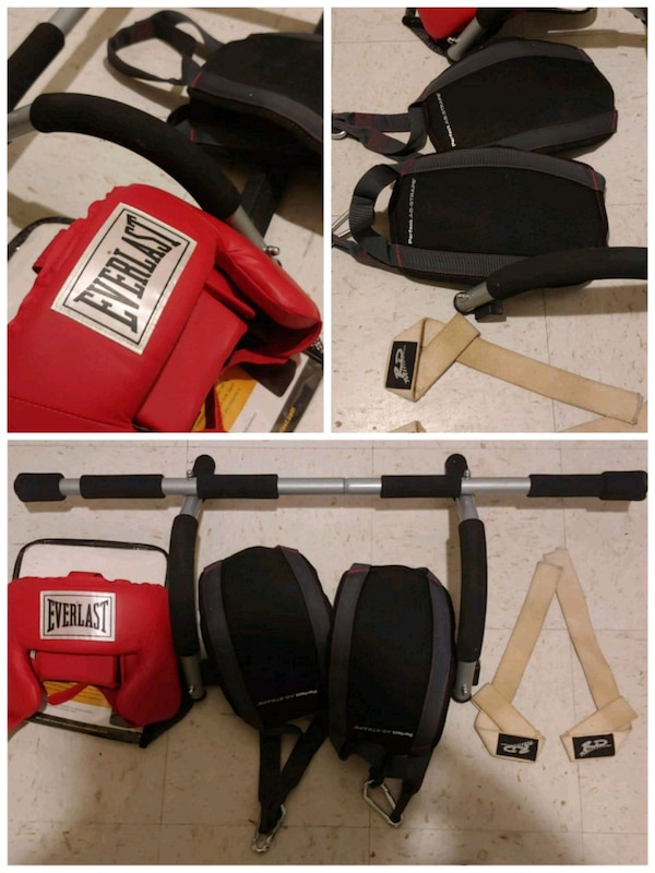 Head gear, pull up bar, straps, hang straps