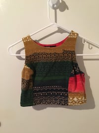 brown, black, and red tribal print sleeveless crop top