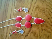 New Set Red Coral  Silver