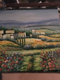 flower field and houses painting