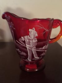 Fenton Art Glass Ruby Mary Gregory Pitcher Burns, 37029