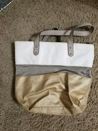 white and brown leather tote bag Lowellville, 44436