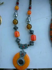 Large Beaded Necklace with pendant Washington