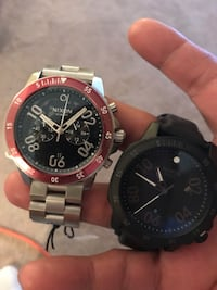 round black and red chronograph watch with link bracelet Edmonton, T5G 1E8