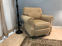 Brown fabric sofa chair with ottoman Fort Myers, 33913
