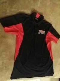 black and red polo shirt