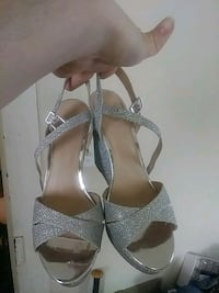 pair of gray open-toe ankle strap heels Lothian, 20711
