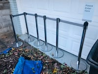 Stanchion crowd control Tensabarrier over 7ft retractable belt 38 inches high chrome mint cond x6! Boonton, 07005