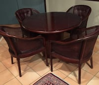Cherry Wood Round Dining Table with Leather and Bamboo Chairs VANCOUVER