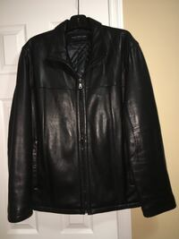 Andrew Marc Men's Black Leather Jacket.  Butter soft leather. Size Large. Like new condition. Also Joseph Bank Charcoal Wool/Poly 3/4 length jacket. Size Large. Like new. $35 13 mi