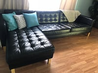 Black leather sectional couch with ottoman Thousand Oaks, 91362