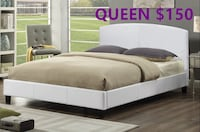 Brand new queen leather platform bed in white on sale  多伦多, M1T 2L3